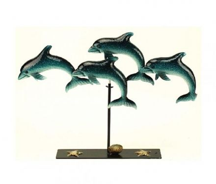 Blue Green Metallica School of Dolphins Contemporary Nautical Sculpture